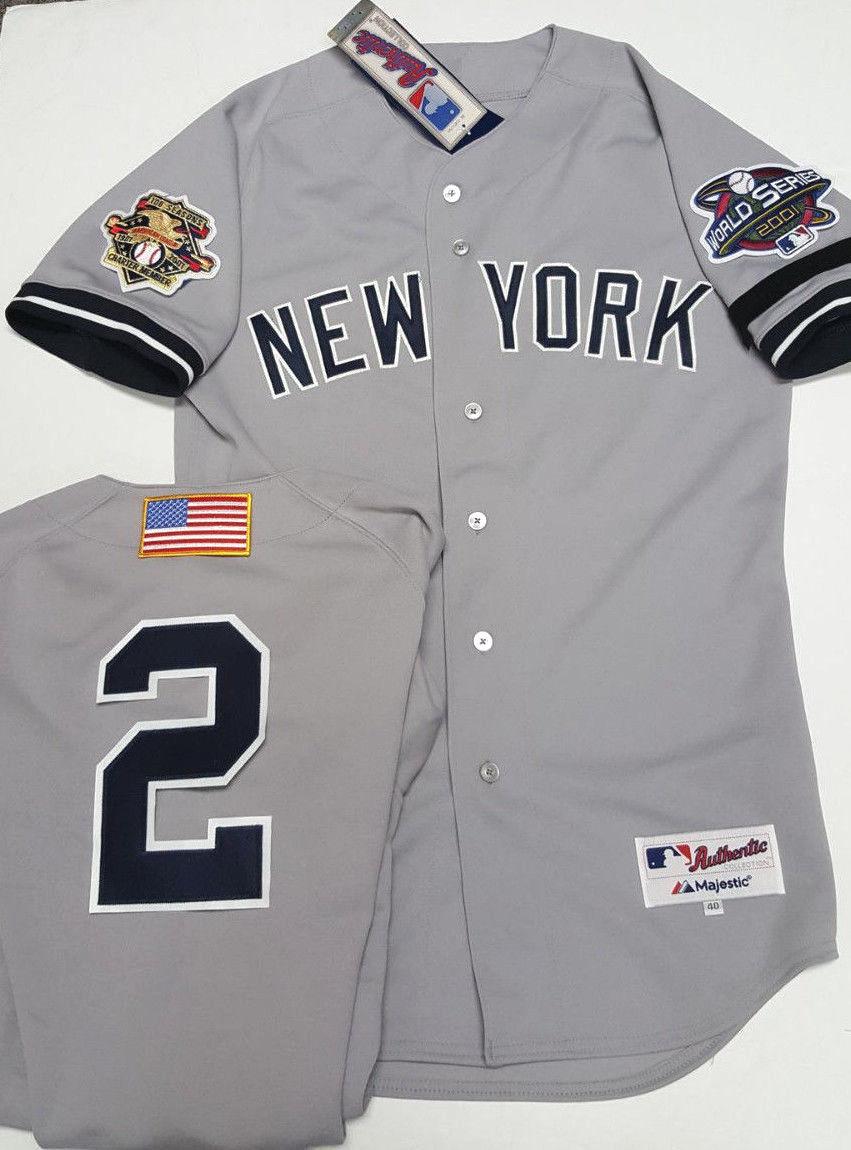 Home   Authentic MLB Baseball Jerseys   Derek Jeter Authentic 2001 World  Series Jersey New Majestic Pick Size fa13eb6e99f