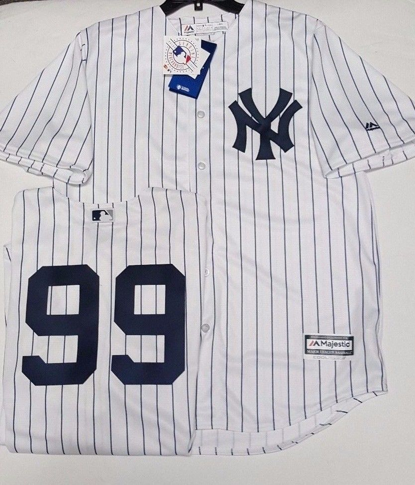 best sneakers 2d2c8 6b1a3 AARON JUDGE YANKEES MENS PINSTRIPE COOL BASE JERSEY PICK SIZE MAJESTIC NEW